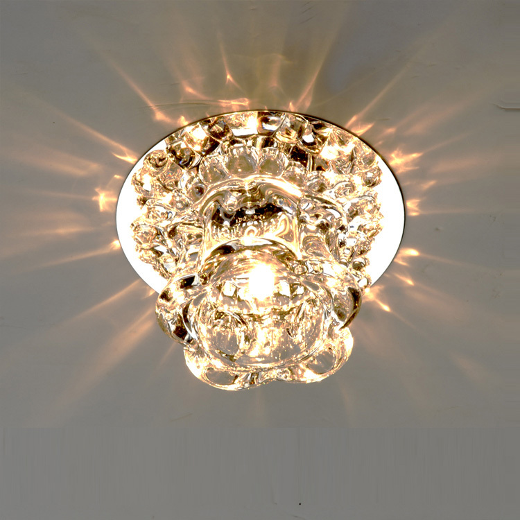 Modern Crystal Corridor Ceiling Lamp Bedroom Hallway Balcony Small Size Ceiling Light Living Room Simple Ceiling Lights ceiling light living room is dome light round american idyllic corridor scandinavian simple balcony antique bedroom lamp 1852