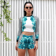 Missord 2019 Womenlong sleeve o neck Rompers Elegant patchwork Two Piece Set Playsuits FT18374