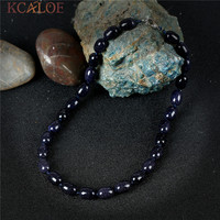 KCALOE Fine Vintage Necklace Natural Blue Sand Stone Handmade Accessories Bijoux Femme Semi Precious Stones Chokers