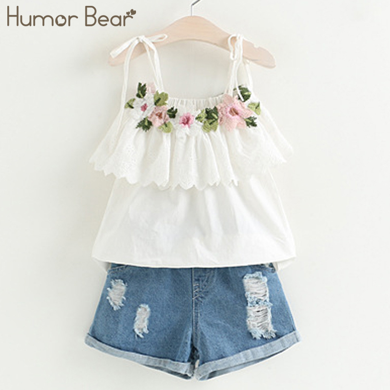 Humor Bear 2017 New Fashion Style Girls Clothing Sets Embroidery Design T-shirt + Jeans Children Clothes Kids Clothes Sets humor bear new girls clothes t shirt skirt 2pcs kids clothing set girls clothing sets kids clothes