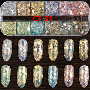 Image 3 - 12 couleurs/ensemble Nail Art coloré paillettes aluminium feuilles 3D flocon autocollant UV Gel vernis couverture complète Laser bricolage ongles décoration outils