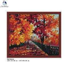 Cross-Stitch-Kits Fabric Canvas Counted Leaves-Pattern Joy Sunday Embroider Chinese 14CT