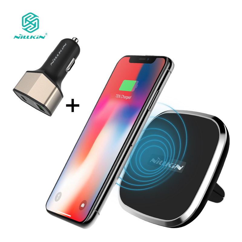 NILLKIN Qi Car Wireless Charger charging Pad with QC 3.0 Fast Car Charger converter for Samsung Galaxy S9/S9 Plus/S8 for iPhone