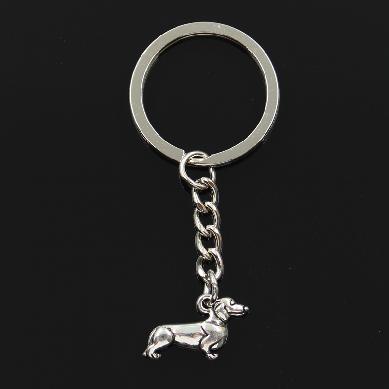 Fashion 30mm Key Ring Metal Key Chain Keychain Jewelry Antique Silver Bronze Plated dog dachshund 20x15mm Pendant