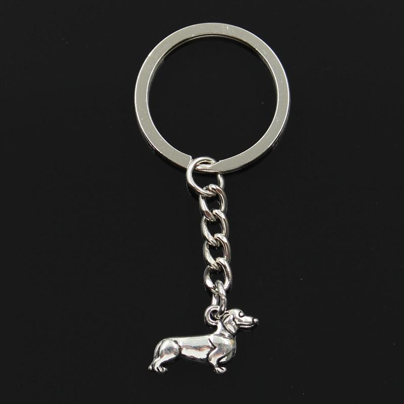 Fashion 30mm Key Ring Metal Key Chain Keychain Jewelry Antique Silver Plated dog dachshund 20*15mm Pendant men s toyota honda nissan keychain hollow silver plated genuine leather car keychain key ring metal key chain pendant