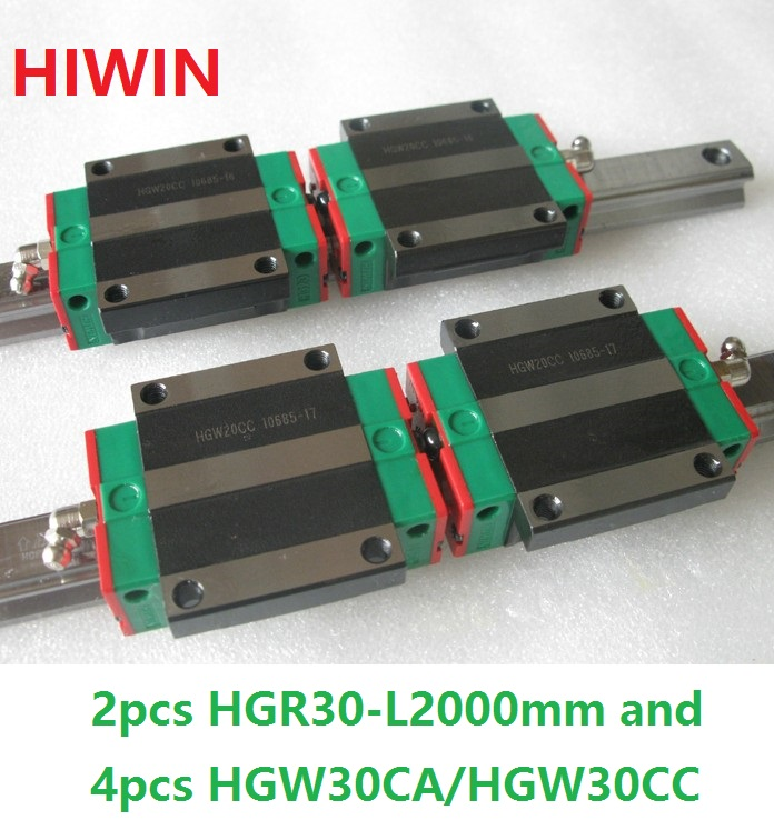 2pcs 100% original Hiwin linear guide HGR30 -L 2000mm + 4pcs HGW30CA HGW30CC flange block carriage new original rexroth runner block ball carriage r162221322 slider 100% test good quality