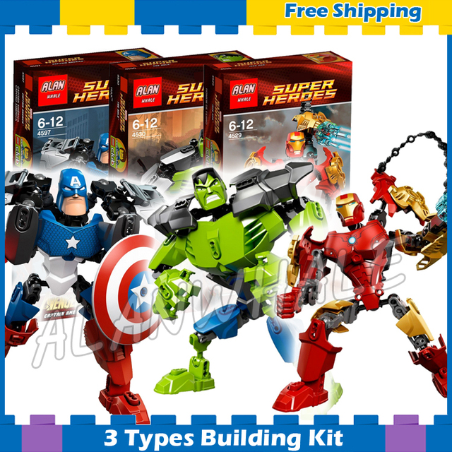 US $10 21 31% OFF|3types Super Heroes Hero Factory Ultrabuild Hulk Captain  America Iron Man Model Building Blocks Gifts Sets Compatible With Lego-in