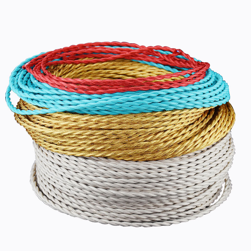 10m/lot 2*<font><b>0.75</b></font> vintage <font><b>cable</b></font> textile fabric electrical wire DIY pendant light electrical <font><b>cable</b></font> woven braided <font><b>cable</b></font> image