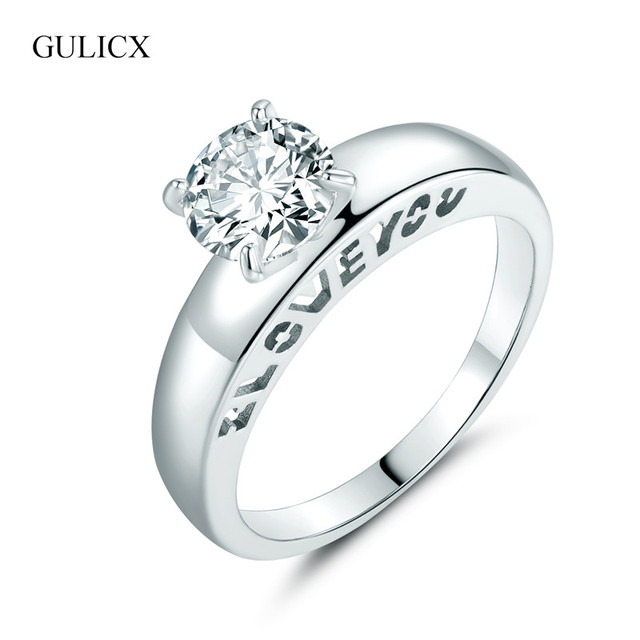 GULICX Hot I LOVE YOU Ring White Gold Color Zircon CZ Wedding