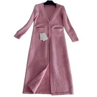 KENVY Brand Fashion Women's High end Luxury Autumn Pink V neck Cardigan Wool knitted Long Sweater