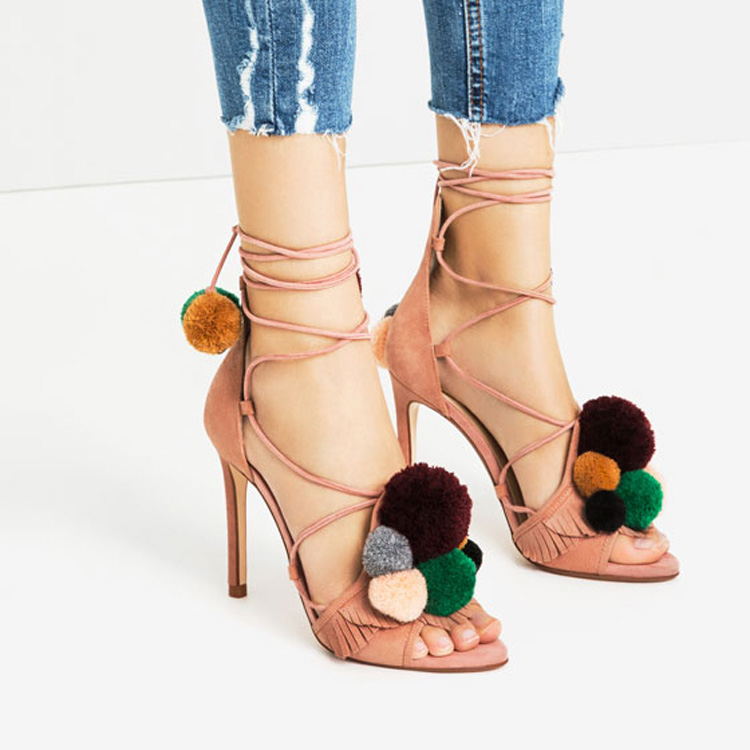 Elegant Ankle Strap Women Sandals Fur Ball Sandals Women Sexy High Heels Open Toe Party Shoes Thin Heel Lace-up Pom Pom Sandals pair of chic rhinestone faux pearl leaf shape earrings for women