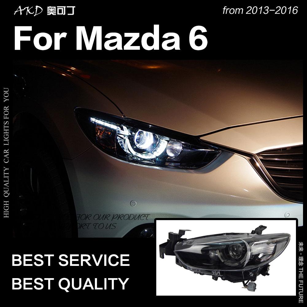 АКД стайлинга автомобилей для Mazda 6 Atenza светодиодный фара 2013-Новинка 2017 года Mazda6 светодиодный ДХО Hid лампы Глава Ангел глаз bi Xenon аксессуары