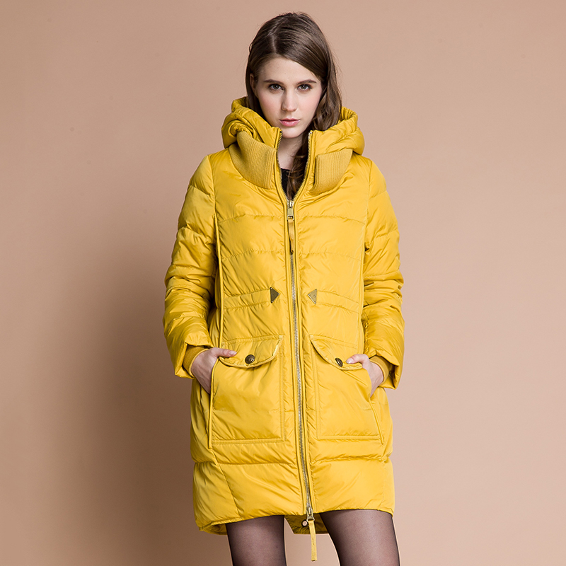 Best quality 2017 winter new brand medium-long jacket fashion material stitching women coat white duck down parkas