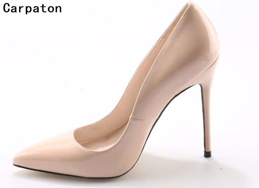 Carpaton women fashion high heel slip on stilettos sexy pumps 10 cm and 12 cm nude high heel shoes women wedding bride shoes apoepo women high heel pointed toe slip on sexy pumps nude high heel wedding bride shoes concise style stilettos m063