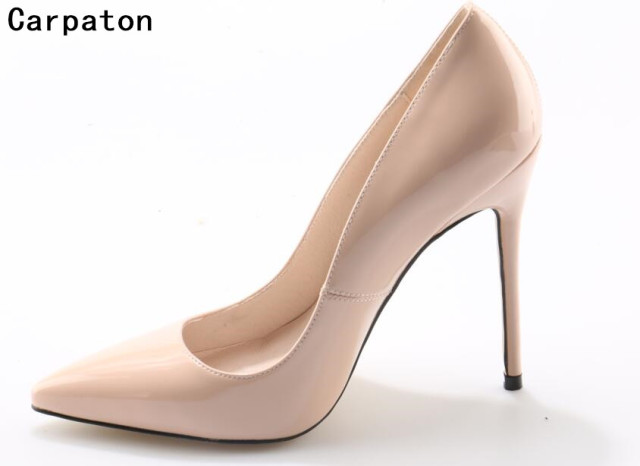 Carpaton Women Fashion High Heel Slip On Stilettosy Pumps 10 Cm And 12 Cm High Heel Shoes Women Wedding Bride Shoes