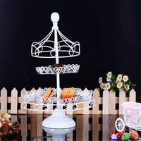 12Cups DIY Cake Stands Muffin Cup Stainless Steel for Cake Display Wedding Birthday White Carousel Cake Stands