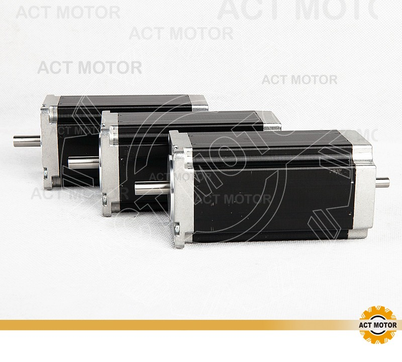 ACT Motor 3PCS Nema23 Stepper Motor 23HS2442B Dual Shaft 4-Lead 425oz-in 112mm 4.2A Bipolar CE ISO RoHz US JP CA DE UK Free act motor 1pc nema23 stepper motor 23hs8430 4 lead 270oz in 76mm 3 0a bipolar ce iso rohs us ca uk de it fr sp be jp free