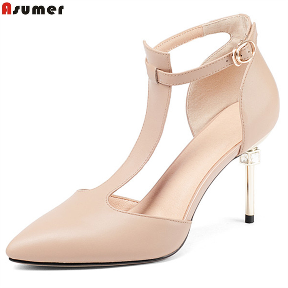ASUMER fashion spring autumn ladies pumps pointed toe buckle elegant wedding shoes women genuine leather high heels shoes new 2017 spring summer women shoes pointed toe high quality brand fashion womens flats ladies plus size 41 sweet flock t179