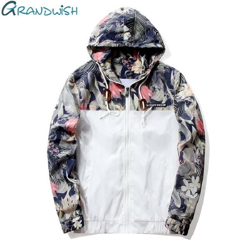 Grandwish Floral Bomber Jacket Men Hip Hop Slim Fit Flowers Pilot Bomber Jacket Coat Men's Hooded Jackets Plus Size 4XL , PA571