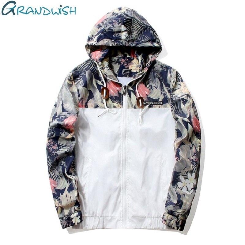 Grandwish Floral Bomber chaqueta hombres chaqueta Hip Hop Slim flores piloto bombardero chaqueta capa de los hombres con capucha chaquetas Plus tamaño 4XL... PA571