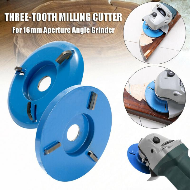 90mm Diameter 16mm Bore Red Blue Power Wood Carving Disc Angle Grinder Attachment Multifunction Three-Tooth Milling Cutter