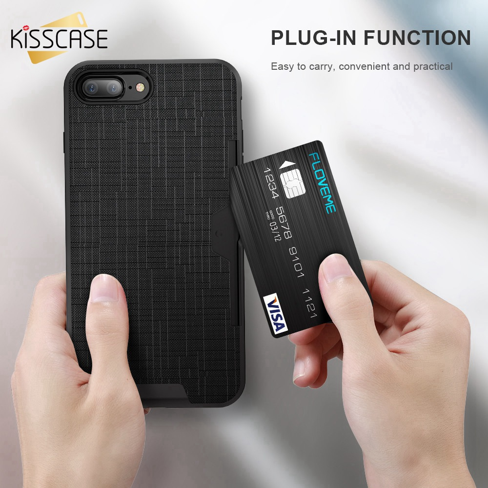 KISSCASE Vintage Phone Case For iPhone 6 7 Plus With Card Slot 2 In 1 Soft TPU Silicone Shell Samsung Galaxy S8 S7 Edge