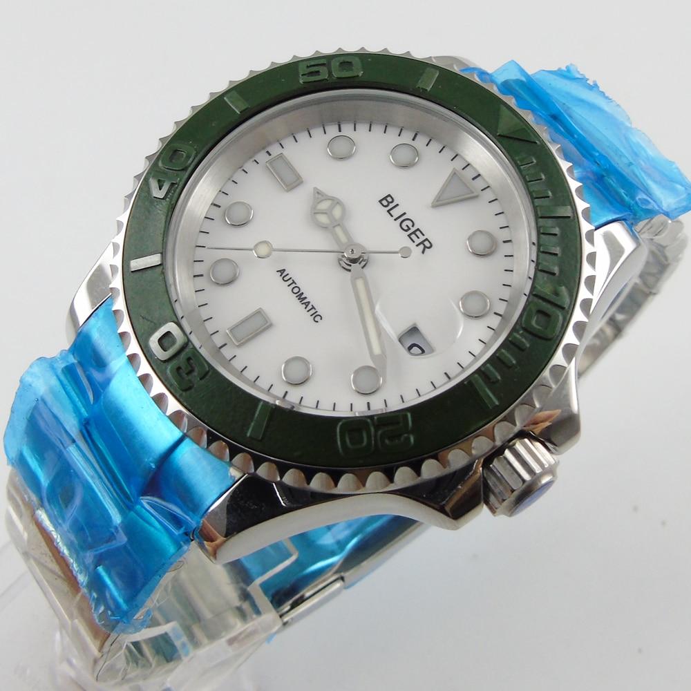 Bliger 40mm white dial date green Ceramics Bezel luminous saphire glass Automatic movement Men's watch цена и фото