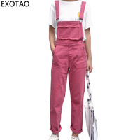 Kobeinc Rose Red Jeans For Women Casual Denim Jumpsuits Female Boyfriends Overalls High Waist Pantalon Femme