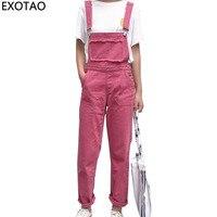 Kobeinc Rose Red Jeans For Women Casual Denim Jumpsuits Female Boyfriends Overalls High Waist Pantalon Femme