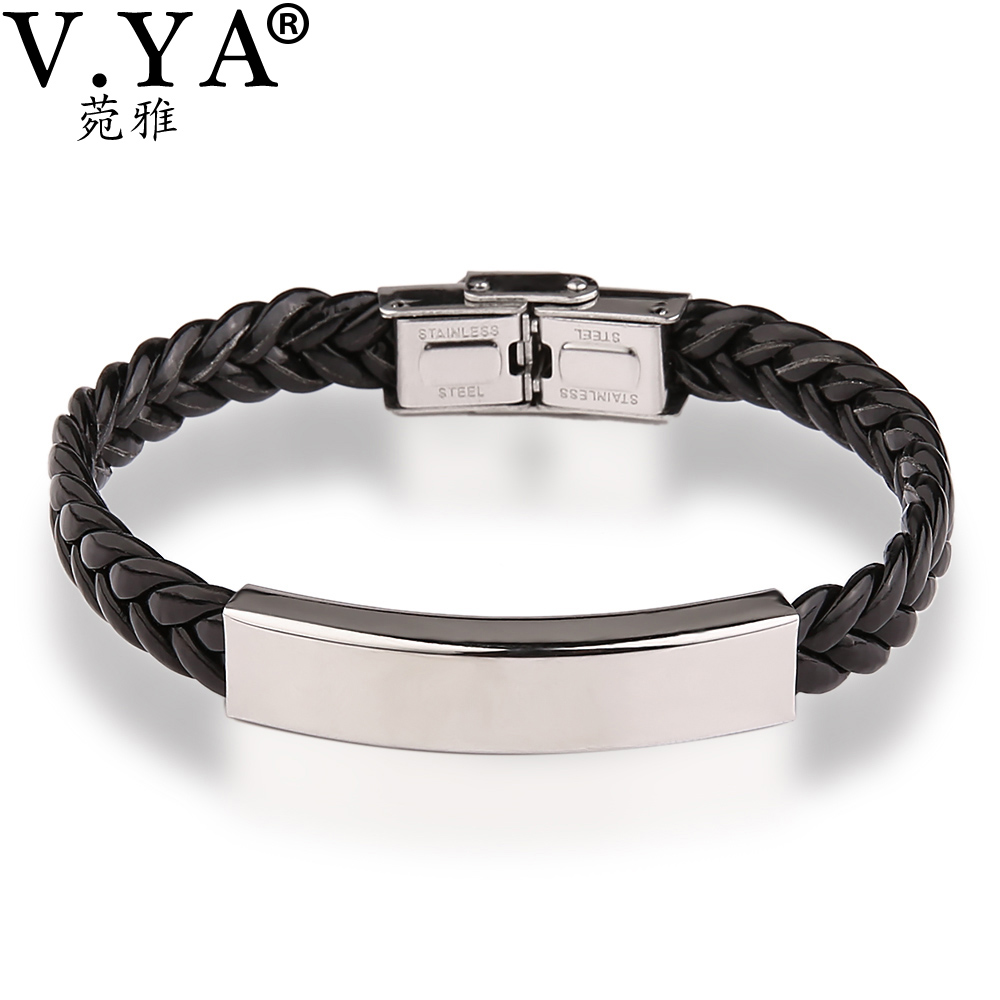 V Ya Valentine S Jewelry Leather Engraved Bracelets Bangle For Men Women Customized Personalized Bracelet Lover Gift In Chain Link