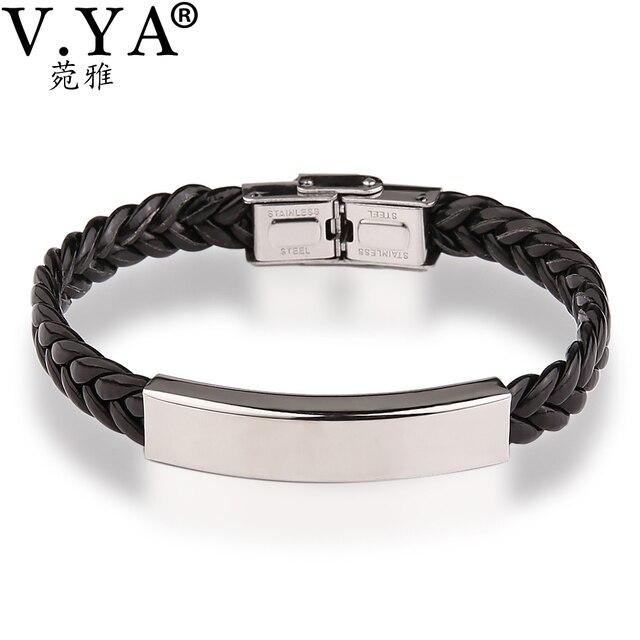 13d243e4bf89 V. YA joyería de San Valentín pulseras de cuero grabadas brazalete para  hombres mujeres pulsera