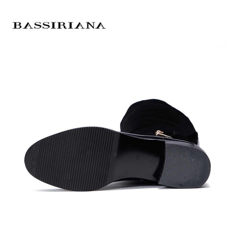 Deri çizmeler Sonbahar Bahar 2017 Ayakkabı kadın 35-40 Siyah süet kadın ayakkabı Ücretsiz kargo BASSIRIANA