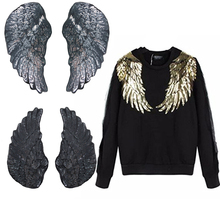 1Pair Sequins Patch DIY Angel Wings Patches For Kids Clothes Sew on Embroidered Patch Applique Sticker For Cloth T-shirt
