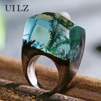 UILZ Green Water Plants Secret Wooden Resin Rings Unique Vintage Handmade Bague Brand Jewelry JWRP027