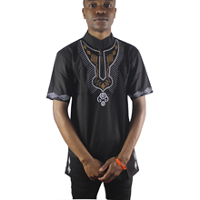 Black Abstract Monkey Embroidered Men`s Dashiki Tops Summer Short Sleeved Ethnic Shirts for Male Wearing