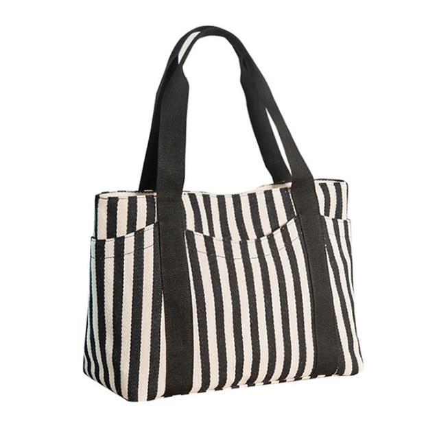 219525d541 Homeda Fashion Canvas Stripe Shoulder Handbags New Wild Rough Striped Each  Bag Large Capacity Shopping Bag Shoulder Bags