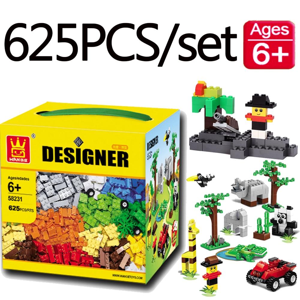 625 Pcs/ensemble Wange Creative Petite Taille Briques DIY Ville Zoo Designer Blocs de Construction Compatible Avec Legoingly Duploed 58231