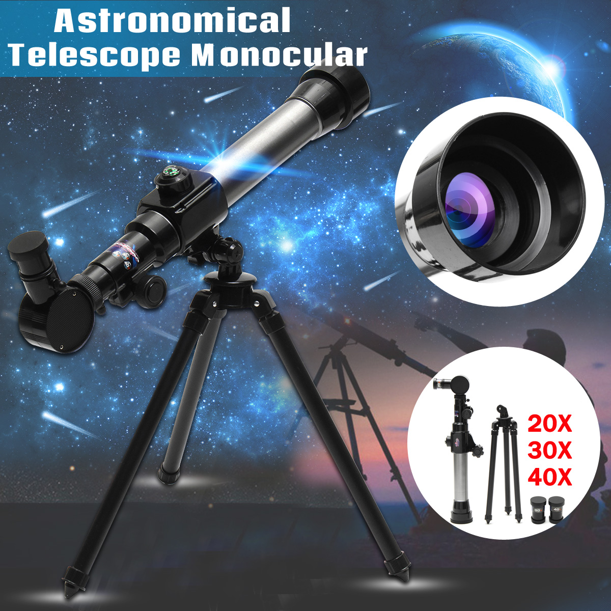 SGODDE 1 Set Children ABS HD Ourdoor Astronomical Telescope Monocular+20X/30X/40X Eyepiece Spotting Scope+Tripod Child Gift 20x magnification telescope lens w tripod back case set for iphone 5 silver red