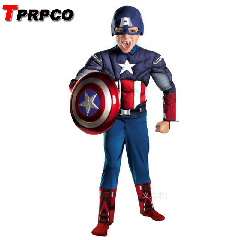 TPRPCO Child Avengers Captain America Muscle Cosplay Fancy Halloween Party Costumes NL125