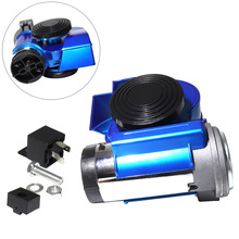 12V 139dB Car Air Horns Snail Compact Dual Horn Multi-tone & Claxon Blue for Vehicle Motorcycle Yacht Boat SUV