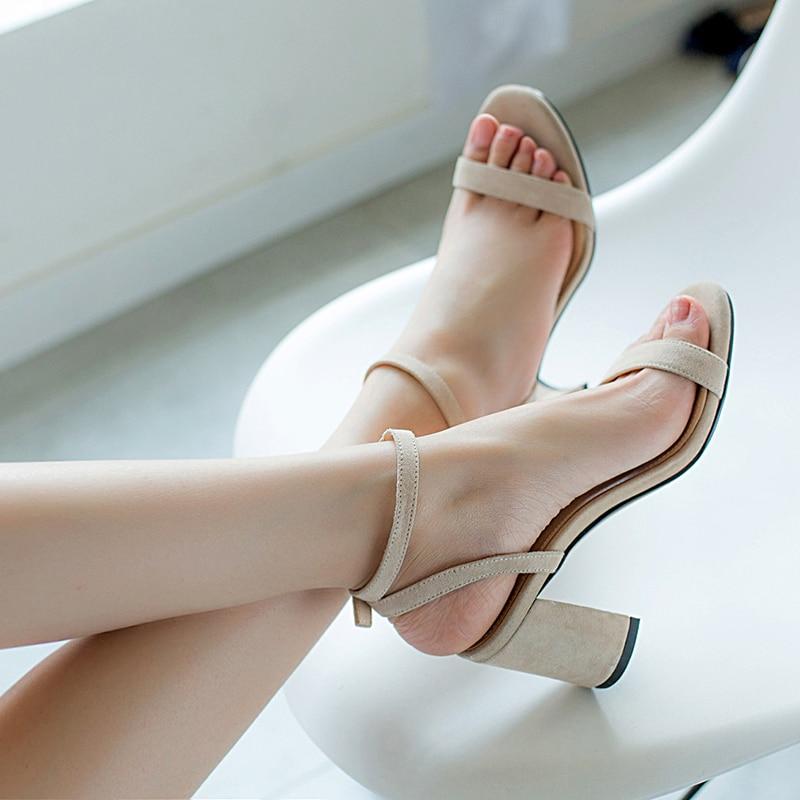 HTB194MXR6TpK1RjSZKPq6y3UpXaR ORATEE Fashion Ankle Strap Women Casual Sandals Open Toe Summer High Heel Shoes Buckle Ladies Office Work Sandalias Shoes