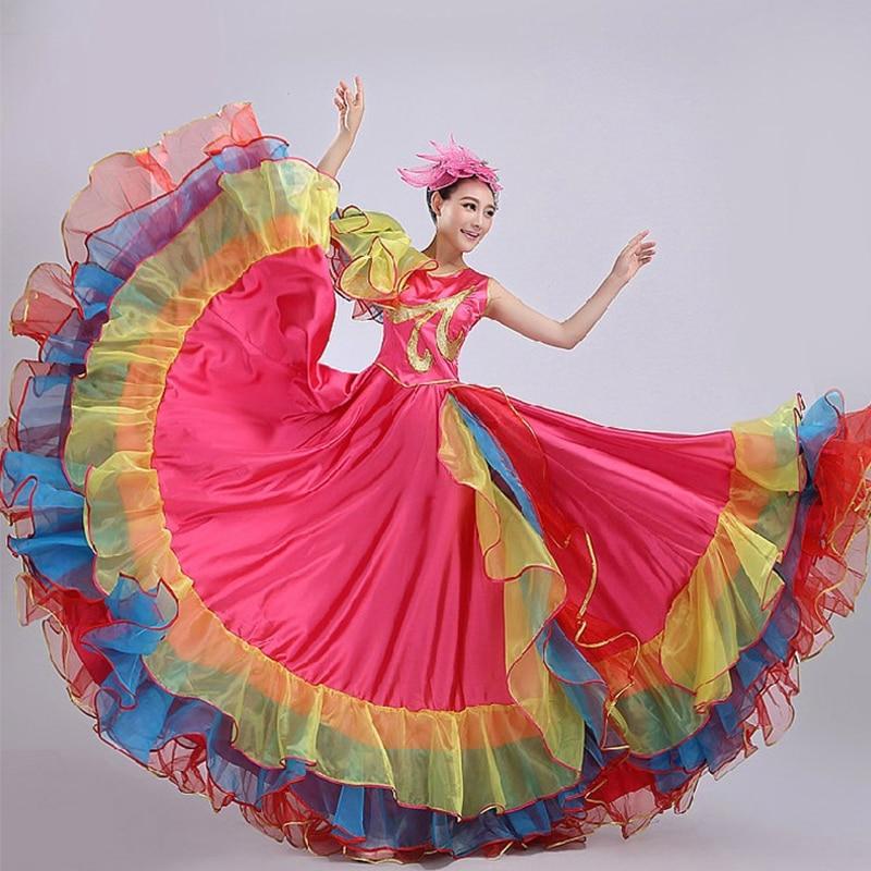Spanish Bullfight Dance Flamenco Skirt Ballroom Style Women Satin Dress Gypsy Colorful Stage Wear Performance Costume DL3475