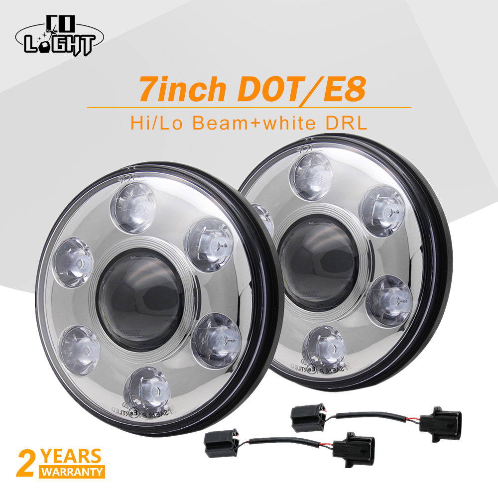 1 Pair 48W 7 Car Led Drl Round High Low Beam 6000K Daytime Running Lights With