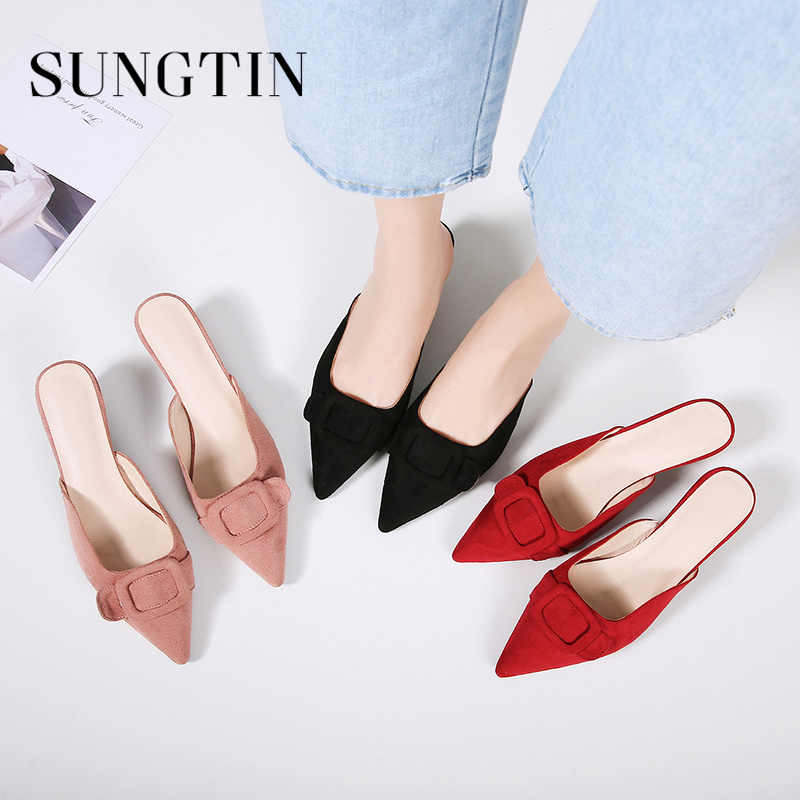 acd385fa7f ... Sungtin Cute Bowknot Slip On Slippers Women Casual Suede Kitten Heel  Mules Female Sexy Pointed Toe ...