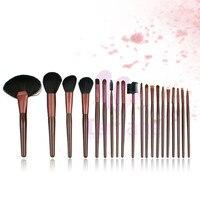 Pro 20pcs Coffee Wood Handle Aluminum Ferrule Makeup Brush Set Free Shipping