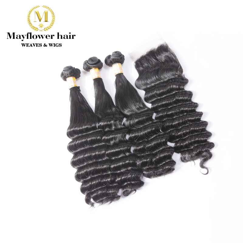 MFH Funmi Hair Beyounce Curl 2/3/4 Bundles With 4x4'' Closure Natural Black Double Drawn Remy Hair 10-18