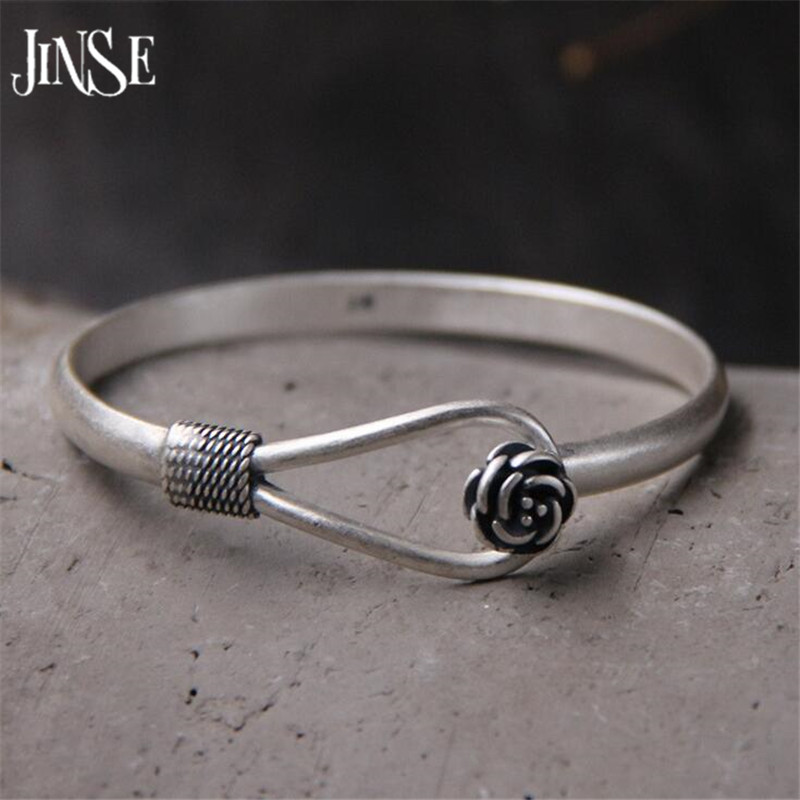 JINSE Wholesale S990 Sterling Silver Bracelet Bangle Exquisite Flower Shape Bangle Hand Decorated 5mm 18 70G