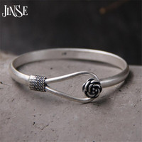 JINSE Wholesale S990 Sterling Silver Bracelet Bangle Exquisite Flower Shape Bangle Hand Decorated 5mm 18 70G
