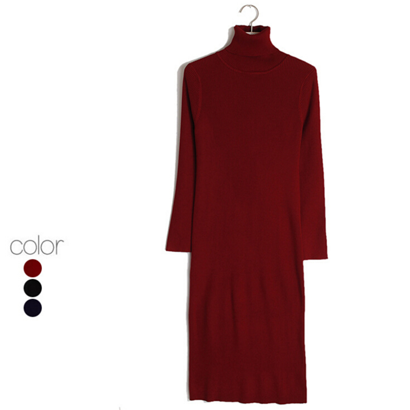 Women Casual Sweater Dresses Black Red Autumn Winter Long Sleeve Turtleneck Knitted Sexy Slim Dress Sexy Knitting Dress,WH0190