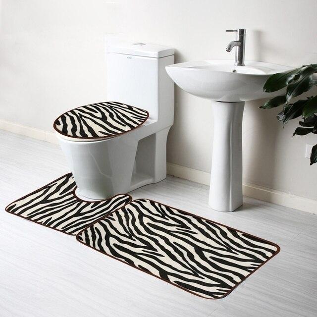 3 Teile/satz Mode Zebra Weichen Flanell Bad Teppich Sockel Teppich ...